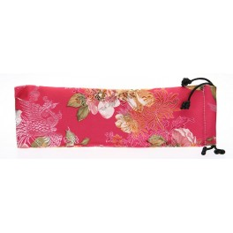 Seidenbeutel mit Blumenmotiv, pink, lang