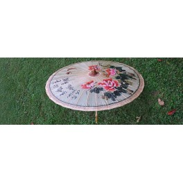 Chinese Paper umbrella, peony with calligraphy