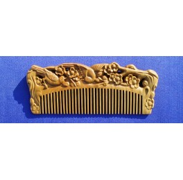 Carved Vera wood comb, cherry blossom