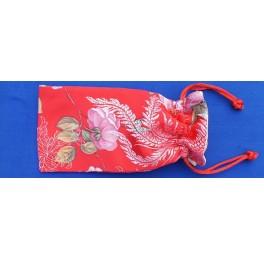 Seidenbeutel mit Blumenmotiv, rot, klein
