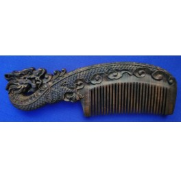 Carved Black Chakate handle comb, dragon